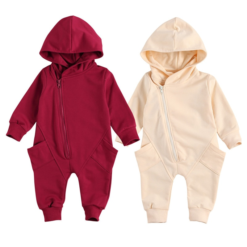 Newborn Baby Boy Girl Solid Color Romper Infant Casual Style Long Sleeve Hooded Jumpsuit Pockets Bab
