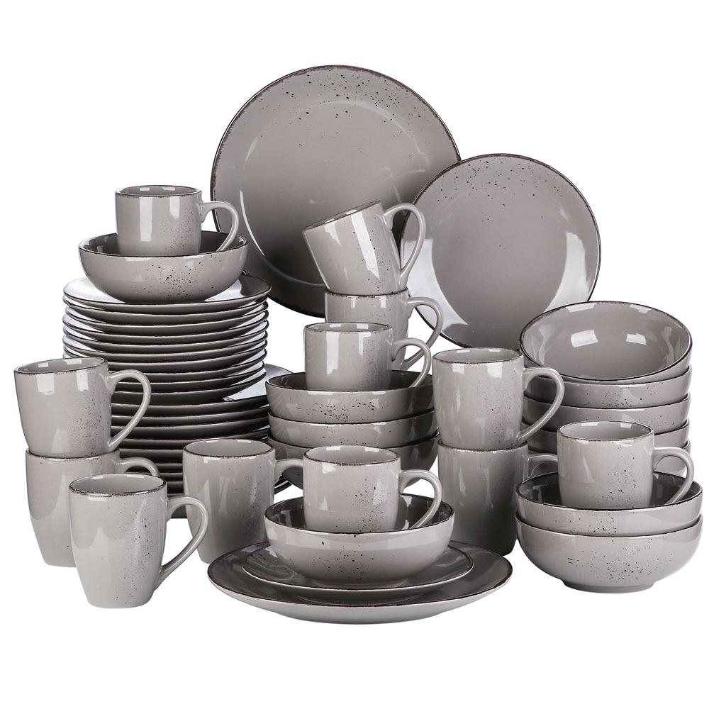 Vancasso Navia Grey 16/32/48-Piece Ceramic Stoneware Dinner Plate Set with Dinner Plate,Dessert Plate,800ml Bowl,380ml Mug Set