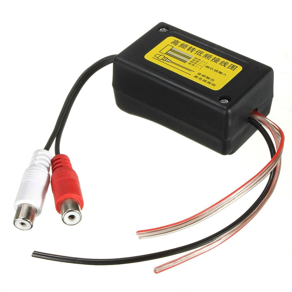 Nuevo convertidor RCA de altavoz negro de alta calidad de 2 canales de alto a bajo nivel con cable de tierra adecuado para coche