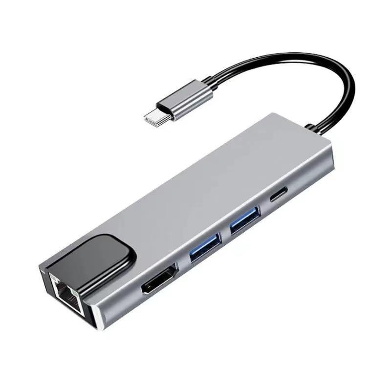 USB C Hub محول متعدد المنافذ مع USB3.0 PD شاحن 4kHDMI RJ45 محول شبكة إيثرنت لأجهزة الكمبيوتر المحمولة ماك بوك برو ونوع C ويندوز