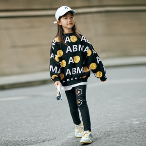 Casual Girls Clothing Sweater Leggings 2 pieces Sets Eggs Letter print Tops+Pants Tracksuit Student Kid Girl Teen Sports Costume