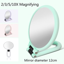 2/3/5/10X Magnifying Handheld Vanity Makeup Mirror Travel Folding Round Shape Mirror-Double Sided Pedestal Makeup Mirror G0203