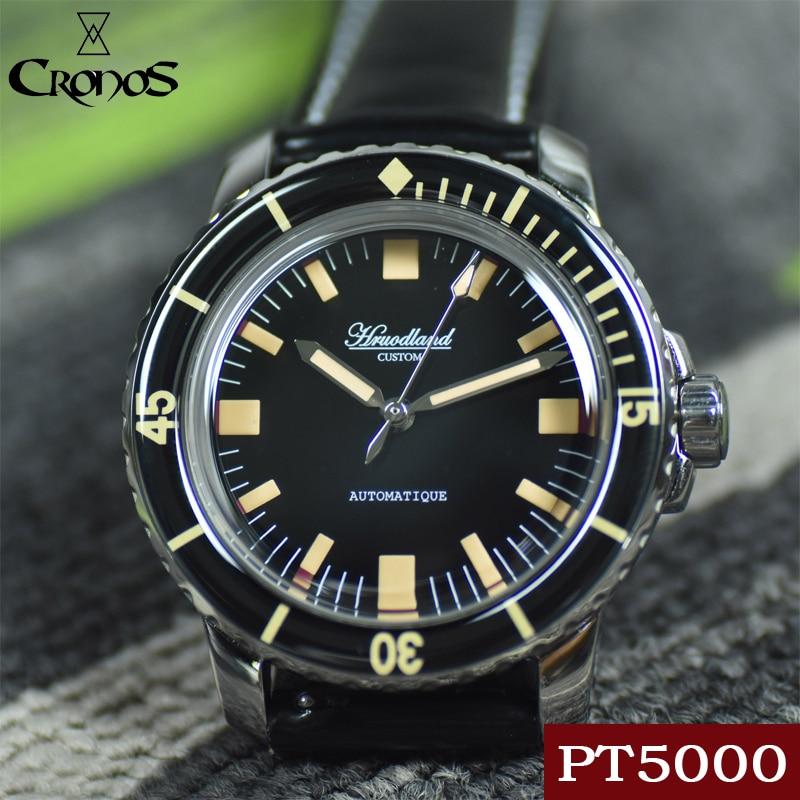 ساعة هورودلاند غواص للرجال أوتوماتيكية PT5000 SW200 فقاعة القبة الياقوت 20ATM حزام من الجلد