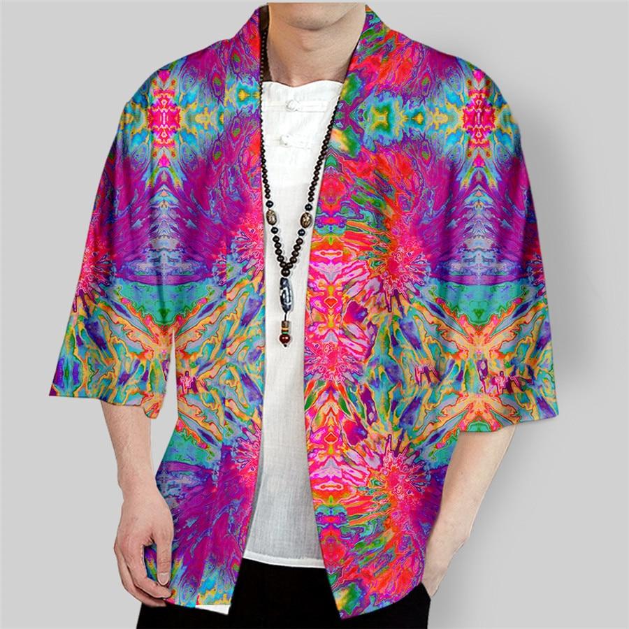 Kimono japonés con estampado 3D de Tie Dye, Haori Yukata, Cosplay para mujer/hombre, moda de verano, informal, de manga corta, chaquetas, ropa