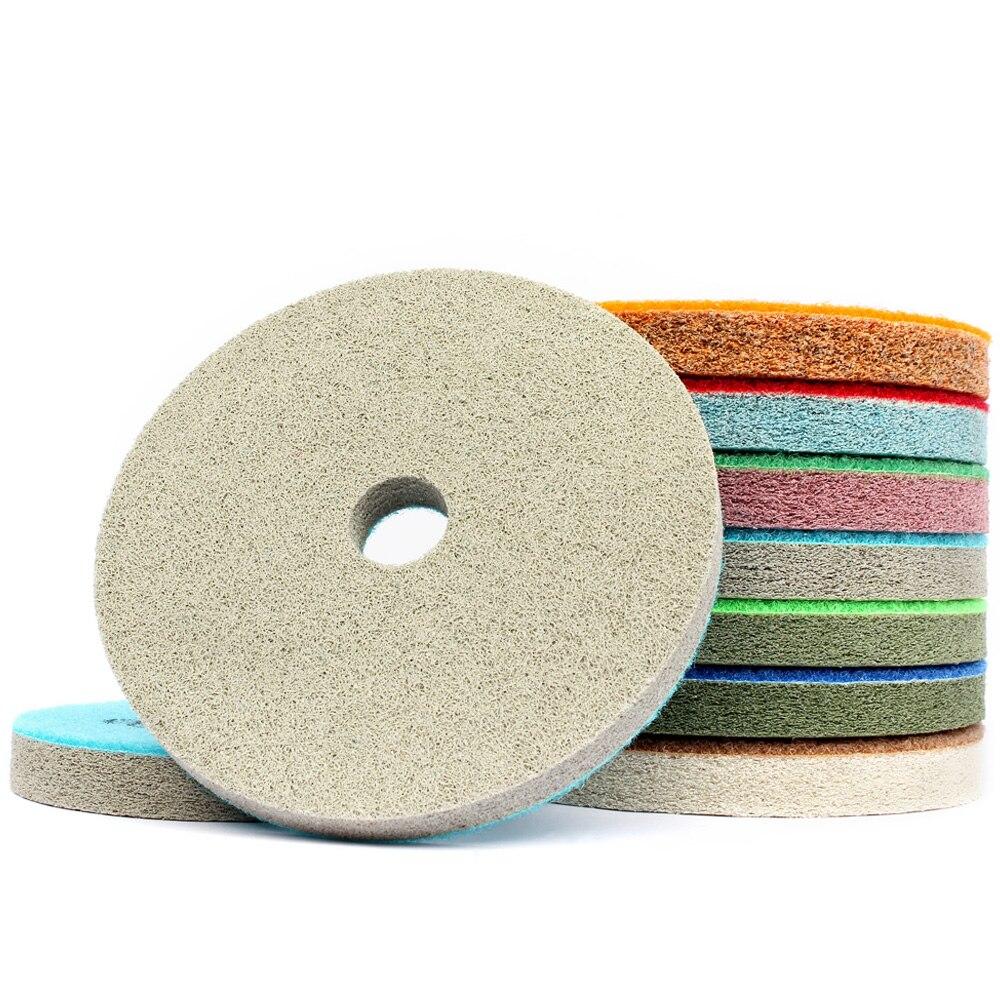 "5 ""7 Uds esponja almohadillas de pulido de diamante mármol granito cemento encimera pulido disco de lijado de Kit de fibra de Nylon abrasivo"