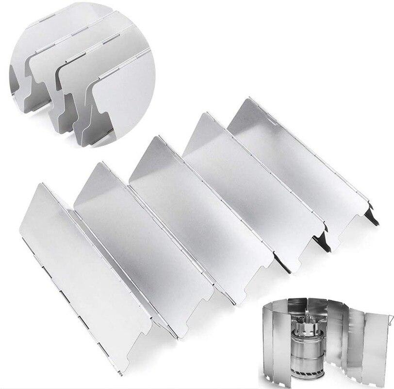9 צלחות מתקפל גז כיריים חיצוני קמפינג בישול מבער Windproof מסך אלומיניום סגסוגת חיצוני רוח כיריים חומת