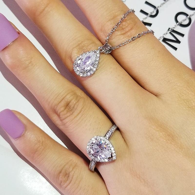Moonso ForLove Zwei Geschenk Echt 925 Sterling Silber Birne Engagement Hochzeit Braut Schmuck für bräute J5849