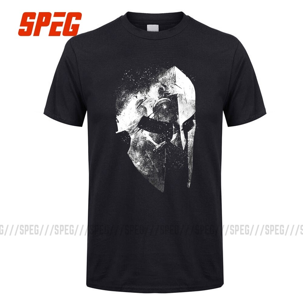 SPEG Vintage Old Style T Shirt The Last Warrior Spartan Sparta Helmet Men Short SLeeve Tee 100% Cotton O Collar Tops