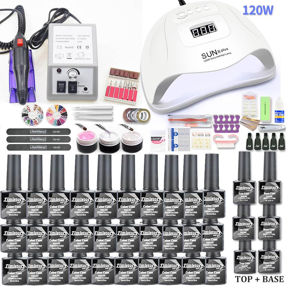 Gel conjunto de unhas 120 w lâmpada uv secador do prego para manicure gel elétrica broca do prego para unha arte prego broca manicure máquina cortador ferramentas