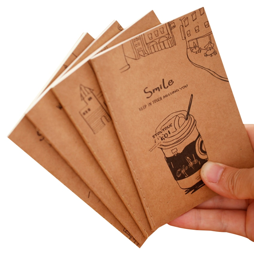 1pcs/lot Vintage Note Book Small Cartoon Smile Diary Notepads Retro Exercise Book Office School Supplies 40packs lot cowhide korean retro exercise book student cute soft face copy small book cartoon notebook