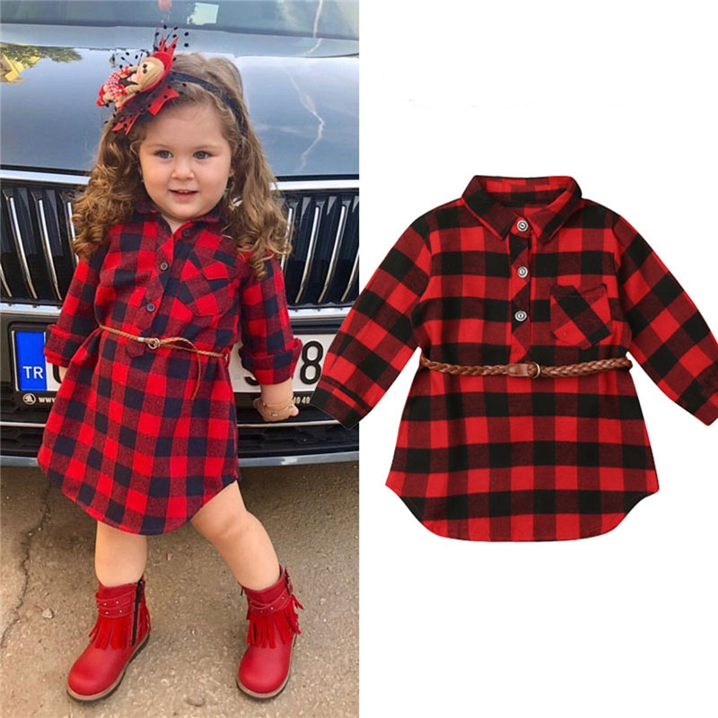 0-5T Christmas Toddler Newborn Kids Baby Girls Dress Red Plaid Cotton Princess Party Long Sleeve Dre