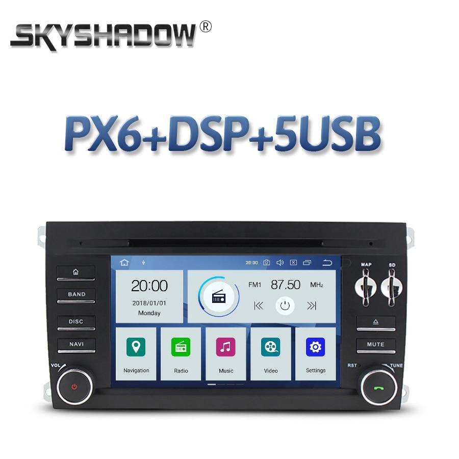DSP reproductor de DVD de coche IPS PX6 Android 10 4GB + 64GB Wifi mapa GPS Radio RDS Bluetooth 4,2 para Porsche Cayenne 2003-2008, 2009, 2010,