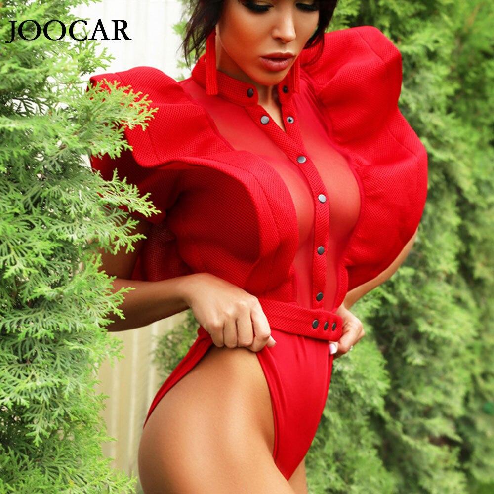 free shipping 2020 joocar Sexy v-NECK button Ruffle Women Bodycon belt bodysuit JC1056