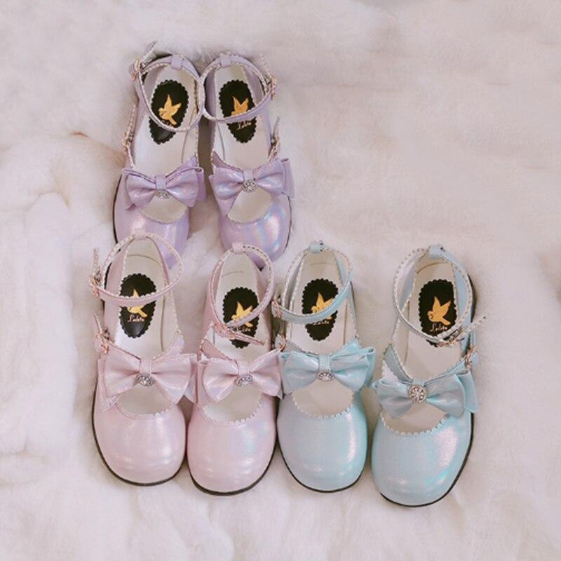أحذية لوليتا يابانية كلاسيكية للنساء ، أحذية يومية ناعمة ذات رأس دائري ، مريحة ، لطيفة مع فيونكة