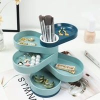 jewelry storage box 360 degree rotatable jewelry accessory storage tray multilayer earrings ring organizer makeup storage box