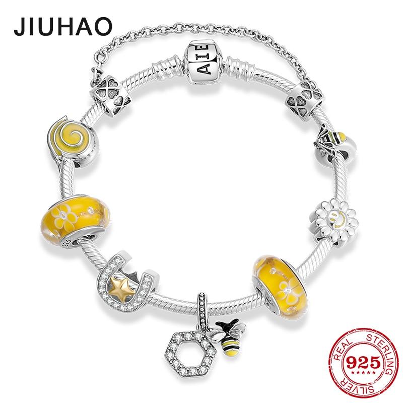 Get Hot sale 925 Sterling Silver Hardworking bee yellow Enamel Bracelets with glass beads Bracelets for Women fashion Jewelry