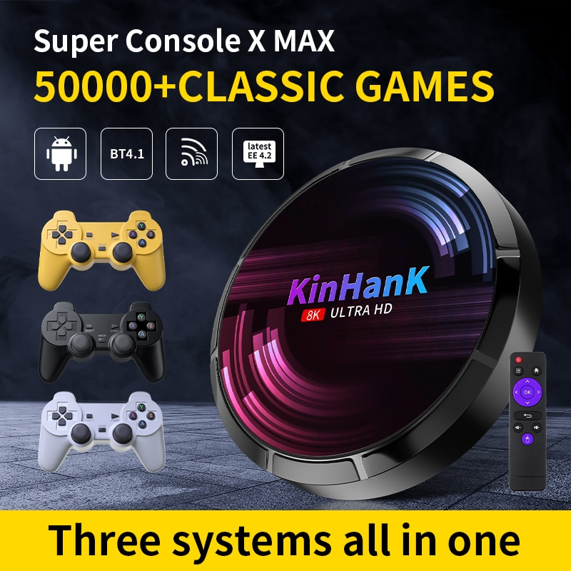 Super Console X Max H96 Retro Video Game Consoles 4K HD WIFI With 50000+ Games For Sega Saturn/PS1/PSP/N64/DC Game Player TV Box