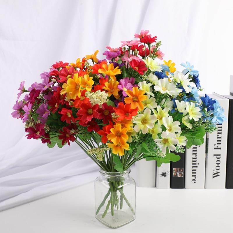 1 stück 7 gabel 28 blume kopf Künstliche bouquet Hochzeit dekoration Weihnachten dekorationen für hause Candy box Blume anordnung