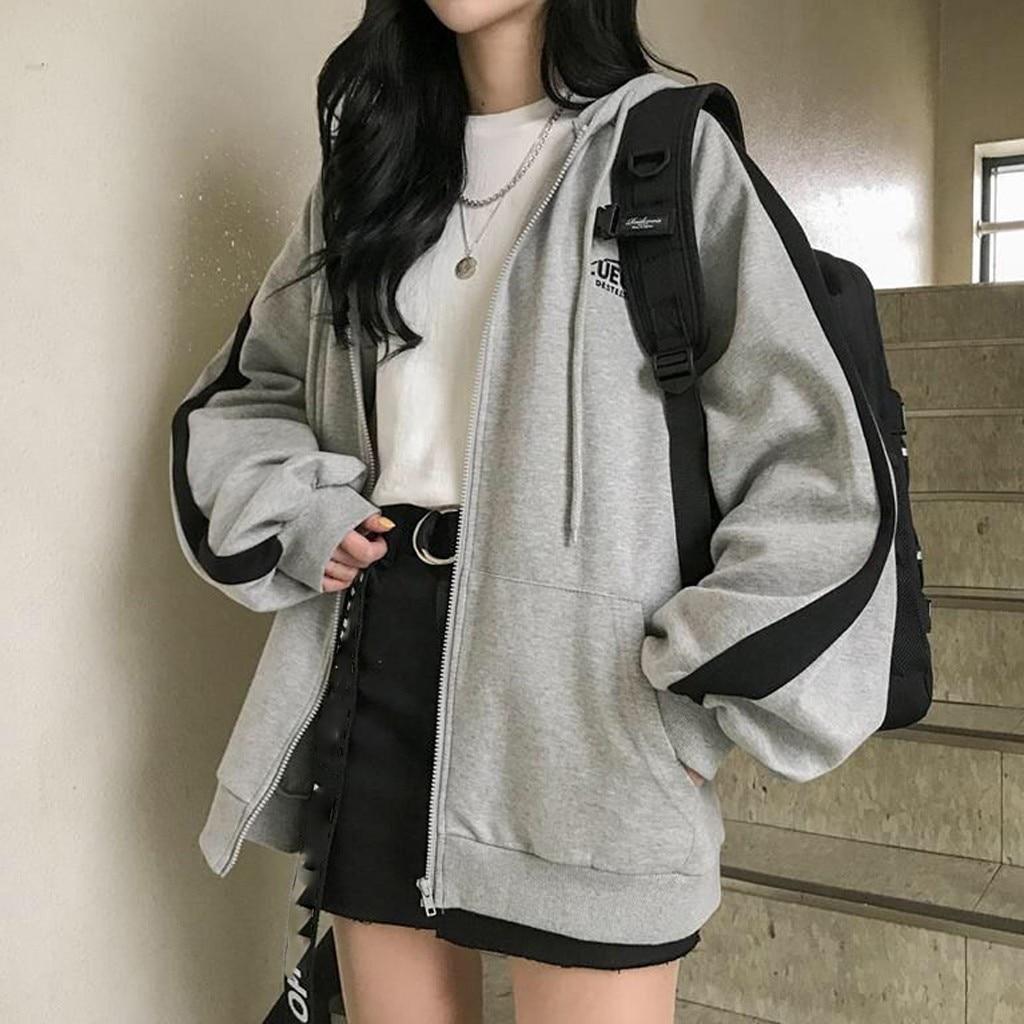 zip-up Harajuku Hoodies For Women clothes Hooded long Sleeve Jumper Hooded Regular Coat Casual korea