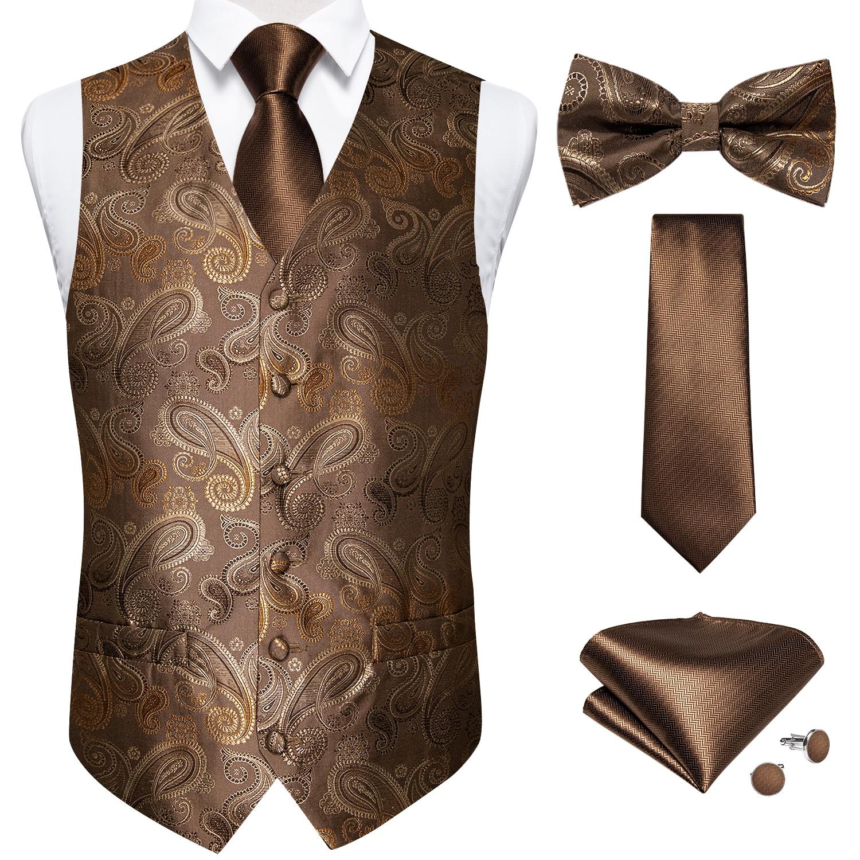 Брендовый роскошный Шелковый Мужской комплект с жилетом и галстуком, свадебный костюм с цветочным рисунком, жилет с галстуком-бабочкой и за...