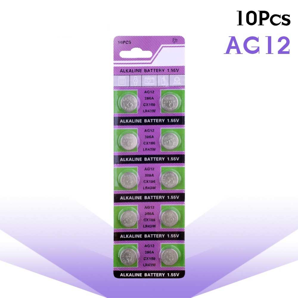 10pcs alkaline battery ag12 1 5v lr43 386 button coin cell watch toys batteries control remote sr43 186 sr1142 lr1142 AG12 10Pcs 100mAh Alkaline Battery 1.55V 386 LR43 260 SR43 For Watch Coin Cell Batteries And Other Hundreds OfelectronicProducts