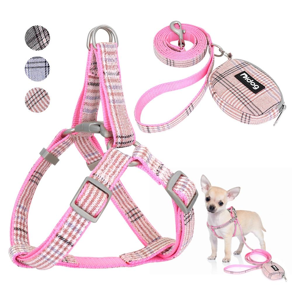 Милый поводок для собак, регулируемый нейлоновый поводок для питомцев, щенков, чихуахуа, поводок для собак, набор розовых поводков для мален...