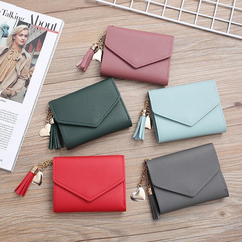 Мини-кошелек с кисточкой, женский модный кошелек, женские короткие мини-кошельки, прекрасный кошелек в Корейском стиле для студентов, женск...
