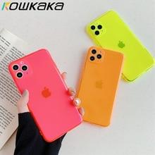 Kowkaka Cassa Del Telefono di Colore Della Caramella Per il iPhone 11 Pro X XR XS Max 7 8 Più SE2 Trasparente Carino Morbido silicone Della Macchina Fotografica di Protezione Shell