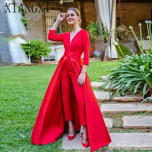 2020 New Red Jumpsuits Prom Dresses 3D Long Sleeves V Neck Formal Evening Party Gowns Cheap Special Occasion Gowns with Pants