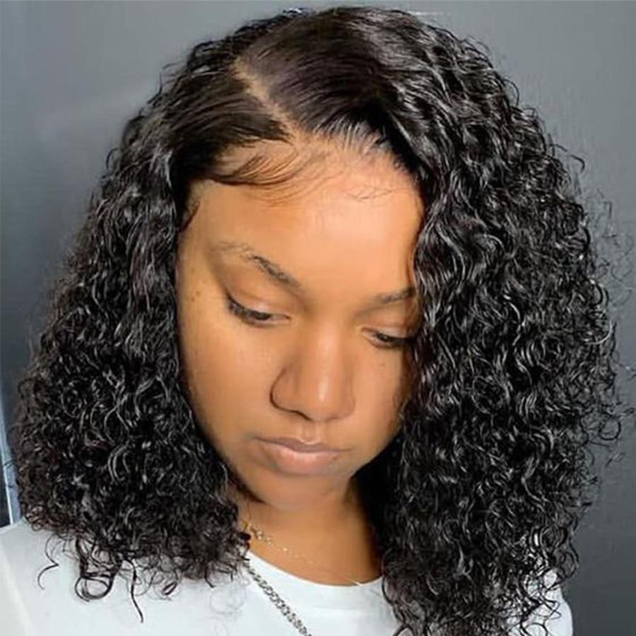 Rizado corto peluca Bob 13X4 peluca con malla Frontal s para mujeres Remy peluca con malla Frontal rizado brasileño pelucas de cabello humano peluca Frontal de encaje