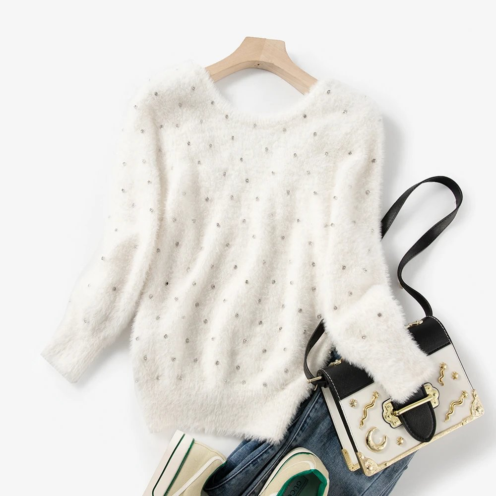 Diamond rabbit fur back v-neck long sleeve sweet pullover sweater top Two colorszara woman 2021 enlarge