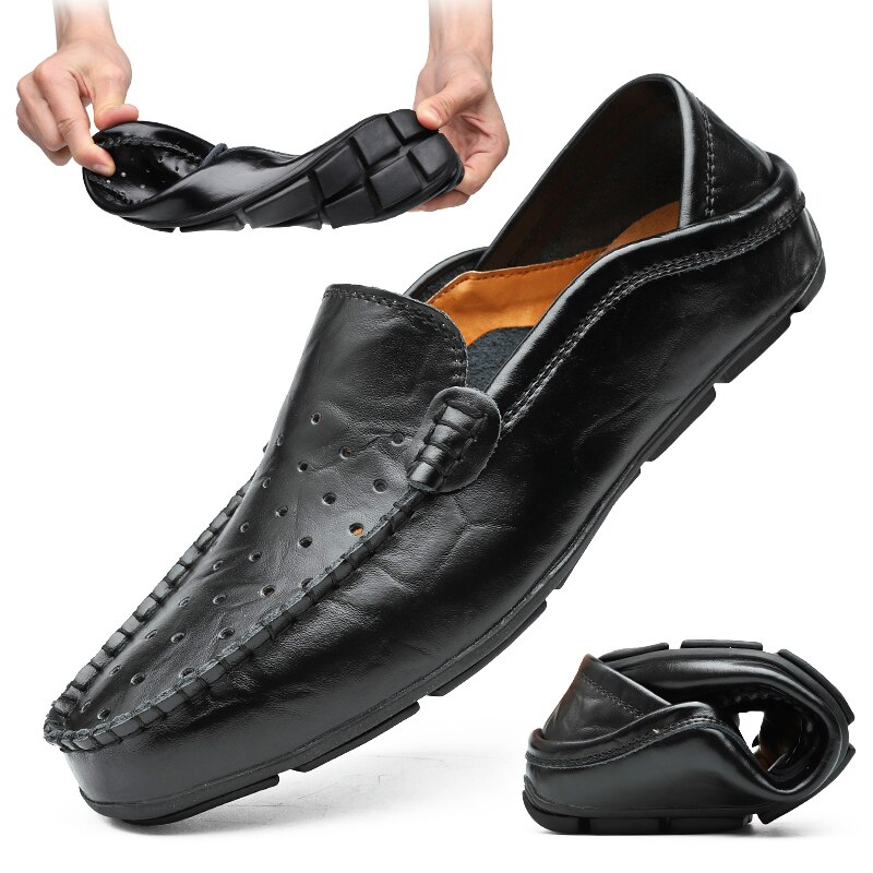 Повседневные мужские лоферы; Летние кожаные мокасины; Мужские мягкие слипоны; Chaussure Homme; Мужская обувь на плоской подошве; Размеры 38-47 #