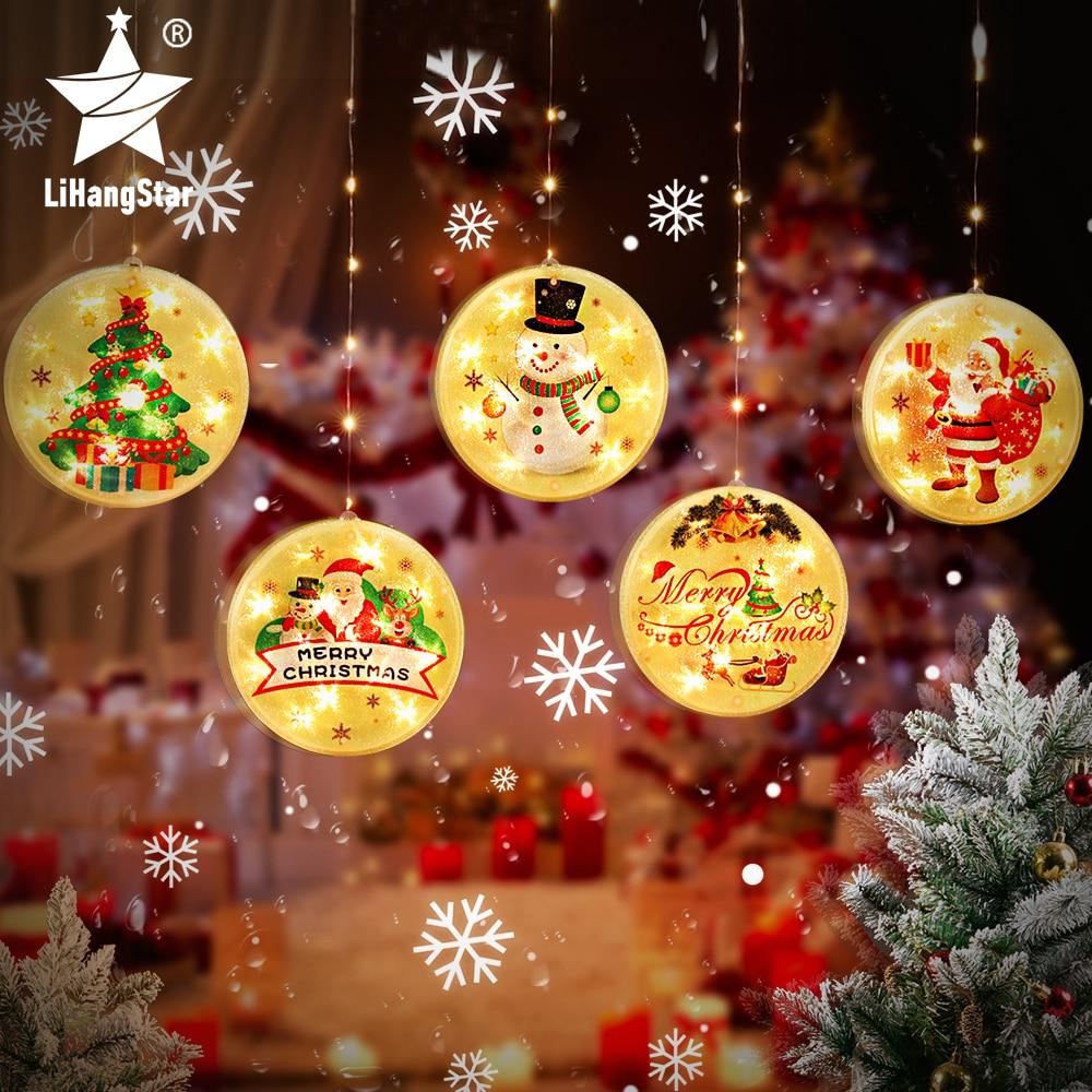 Светодиодная гирлянда, Рождественское украшение, праздничные огни, 3D подвесные огни на присоске, Рождественская вечеринка, для спальни, окн...