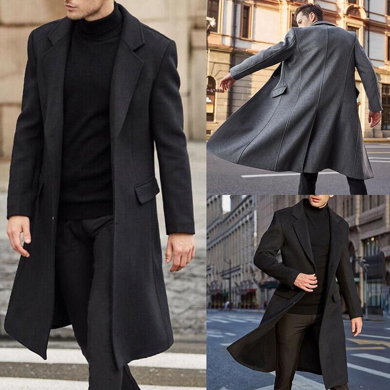 2020Winter Men Coats Woolen Solid Long Sleeve Jackets Fleece Men Overcoats Streetwear Fashion Long T