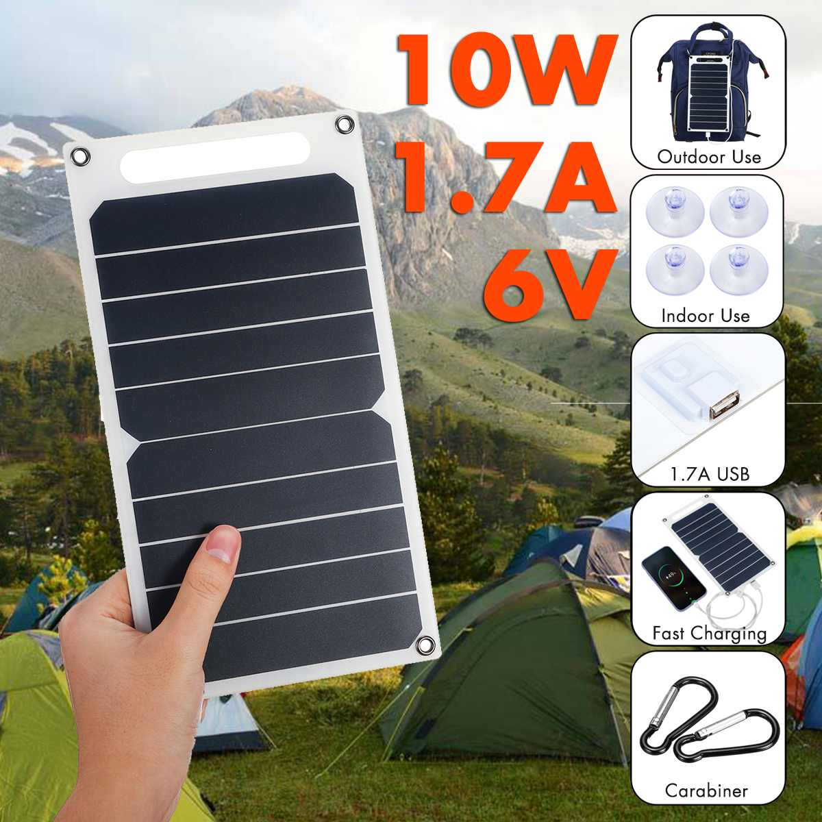 10W 6V Panel Solar portátil células solares SunPower USB teléfono móvil cargador fotovoltaico banco de energía con ventosas y mosquetón