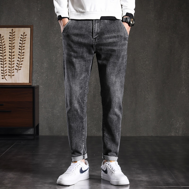 Autumn Winter Jeans Male Slim Black Small Foot Contracted Casual Straight Trousers Fashion Joker Pop