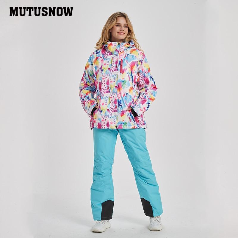 Новинка 2020, женский лыжный костюм, ветрозащитный водонепроницаемый дышащий женский зимний костюм со штанами, походный зимний костюм, бренд...