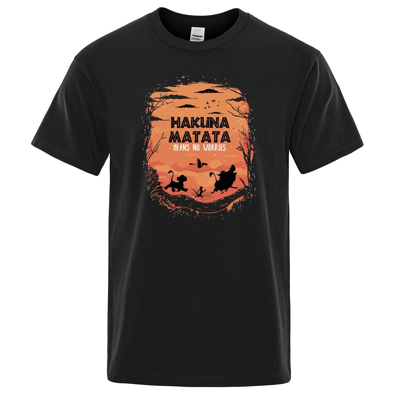 The Lion King Hakuna Matata T Shirts Men Simba's Friend Pumbaa Timon Tops Summer Tshirt Funny Print Tee Shirts Mens Cool T-shirt