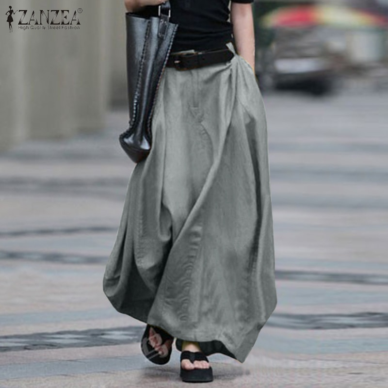 2021 Vintage Summer Skirts ZANZEA Women High Waist Solid Cotton Linen Skirt Saia Female Beach Maxi Long Skirts Jupe Faldas 5XL 7 beach maxi long skirt zanzea summer zipper skirts women elegant solid skirts bohemian skirt jupe female faldas saia oversized