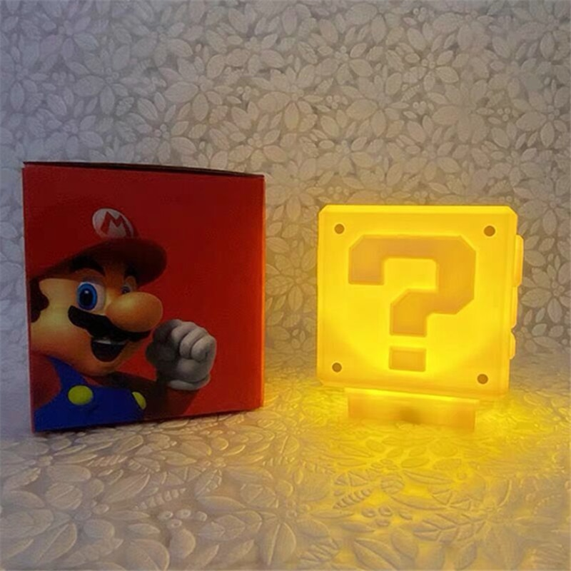 أنيمي ليلة ضوء سوبر ماريو لعبة سؤال علامة شعار إد ليلة ضوء USB أدى ضوء الليل للأطفال غرفة نوم المنزل لامبارا هدايا