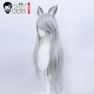 「HSIU Brand」 game King of Glory cosplay Bai Li Shou Yue Wig Silver long hair Fiber synthetic wig + Free brand wig net