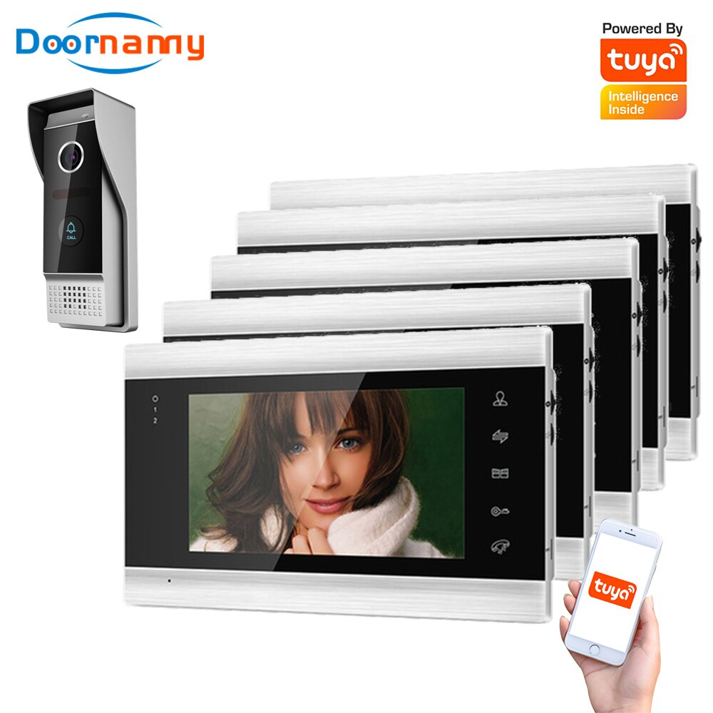 Doornanny Villa Apartment WiFi Video Intercom System One To 5Monitors Tuya Doorbell Doorphone Video Call Intercom Kit AHD 720P