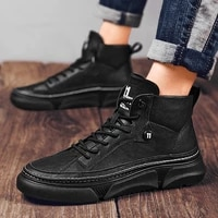 2021 spring and autumn new trend fashion all match casual soft leather shoes lightweight and comfortable black thick sole shoes