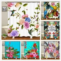cartoons shower curtain colorful flowers birds butterflies 3d pattern frabic bathroom curtains with 12 hooks bathtub decoration