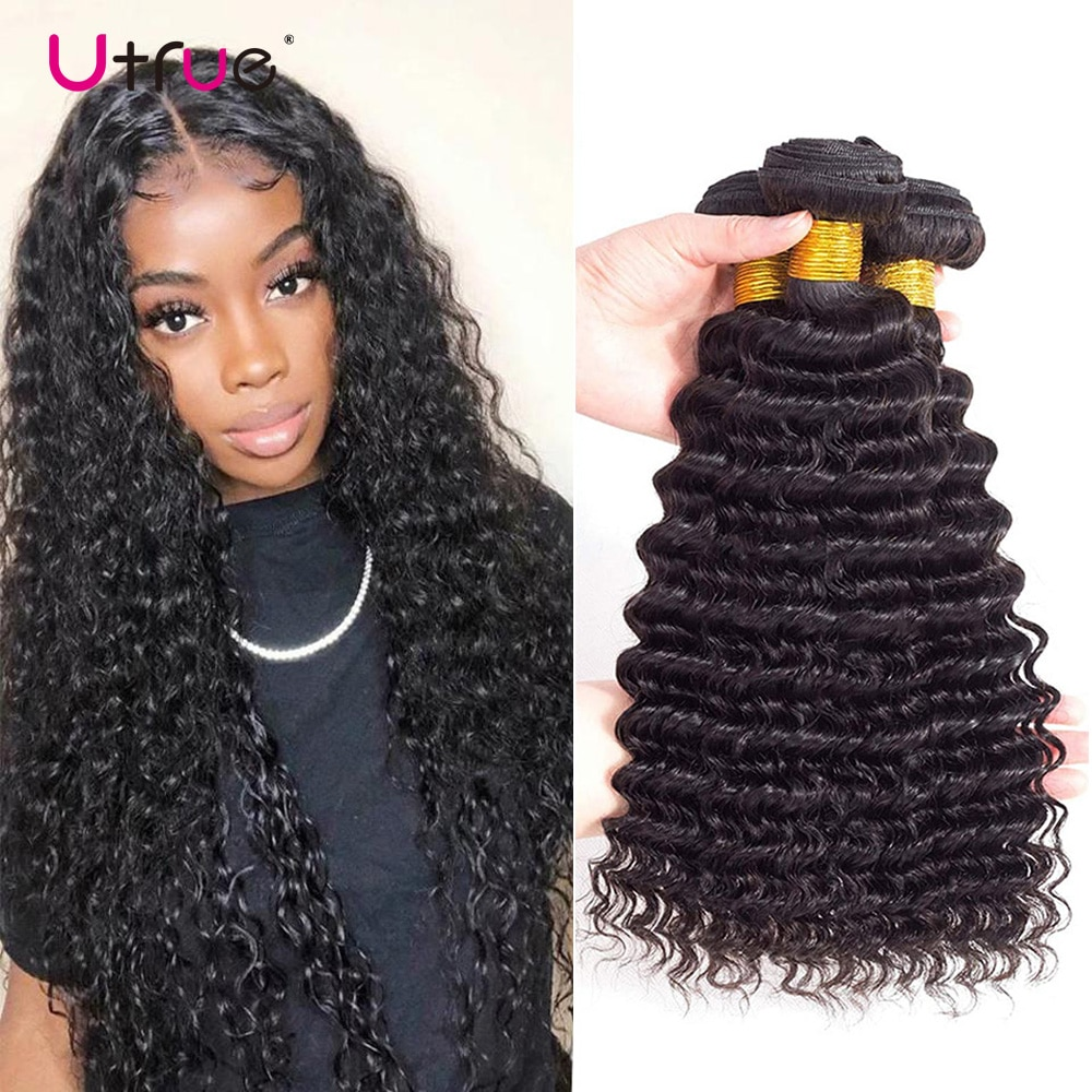 Deep Wave Brazilian Hair Weave Bundles Deal 8-30 Inch Natural Color Pre-Colored Weft Thick Remy 100% Real Human Hair