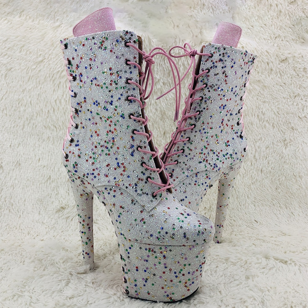Leecabe  20CM/8inches glitter lace up  sexy ankle boot  High Heel platform beautiful club Pole Dance boot