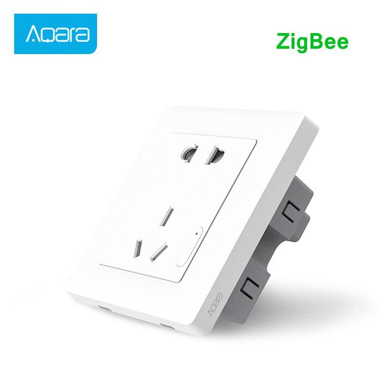 Aqara inteligente tomada de parede sem fio interruptor de parede controle luz inteligente zigbee trabalho para xiaomi kits casa inteligente app