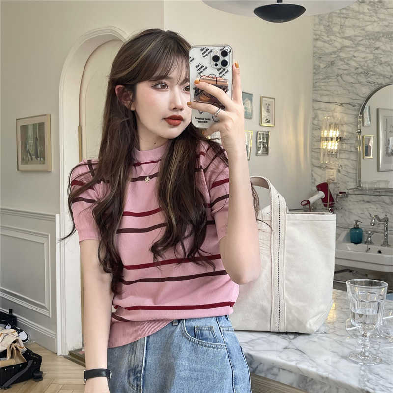Price ~ Chic Korean Style Slim-Fit Contrast Colors Striped Short Sleeve Sweater Crew Neck T-shirt To