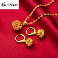 kissflower js11 2021 fine jewelry wholesale fashion woman girl birthday wedding gift vintage hollow ball 24kt gold jewelry set