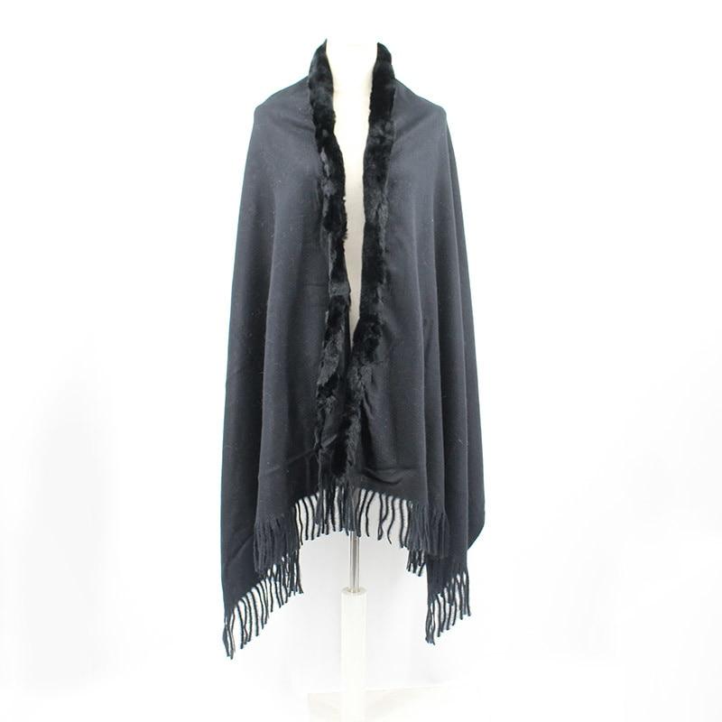 SHZQ New Luxury Winter Scarves Warm Blanket Fashion Women's Scarf Pashmina Women Shawls and Wraps with Natural Rex Rabbit Fur Co